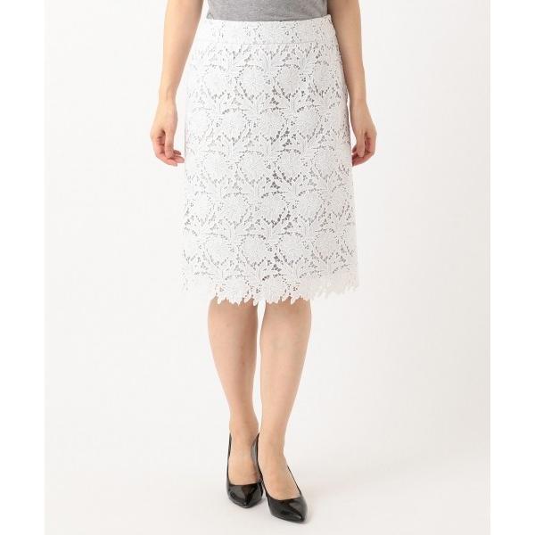L size ONWARD(大きいサイズ) / エルサイズオンワード 【洗える】シック クラフトレース スカート