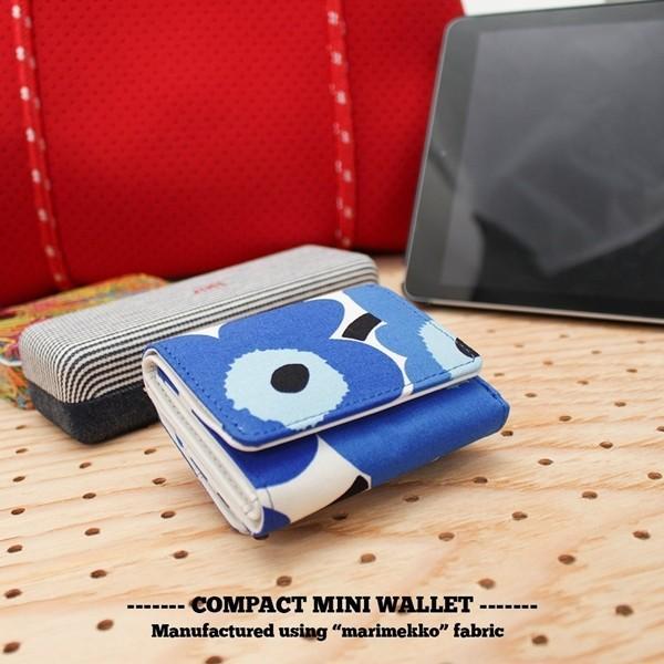 ミニ財布 本革 レザー 財布 手のひら 小さい コンパクト 三つ折り 折りたたみ 小銭入れ カード ギフト 可愛い かわいい 旅行用 マリメッコの生地使用|selene|11