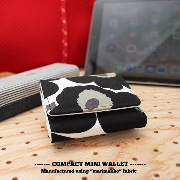 ミニ財布 本革 レザー 財布 手のひら 小さい コンパクト 三つ折り 折りたたみ 小銭入れ カード ギフト 可愛い かわいい 旅行用 マリメッコの生地使用|selene|12