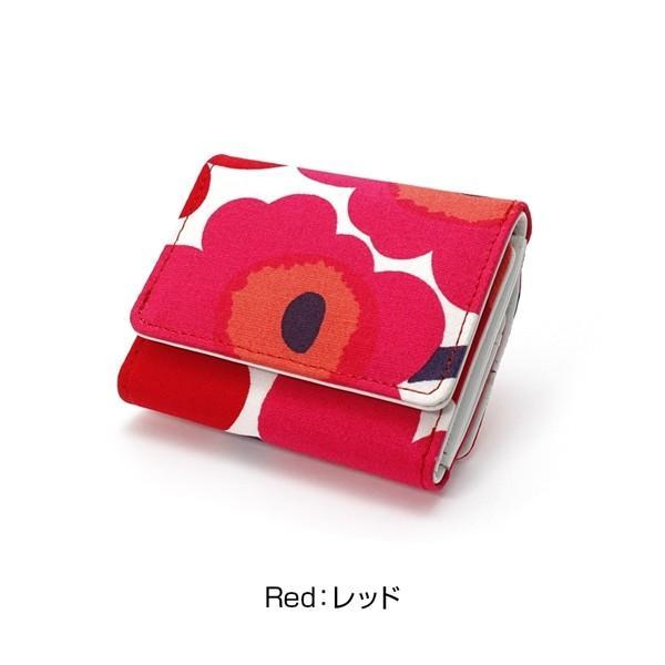 ミニ財布 本革 レザー 財布 手のひら 小さい コンパクト 三つ折り 折りたたみ 小銭入れ カード ギフト 可愛い かわいい 旅行用 マリメッコの生地使用|selene|14