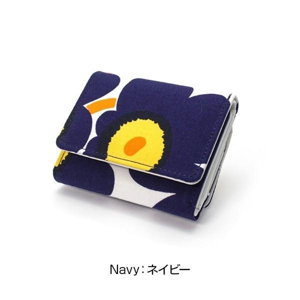 ミニ財布 本革 レザー 財布 手のひら 小さい コンパクト 三つ折り 折りたたみ 小銭入れ カード ギフト 可愛い かわいい 旅行用 マリメッコの生地使用|selene|15