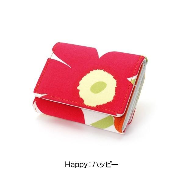 ミニ財布 本革 レザー 財布 手のひら 小さい コンパクト 三つ折り 折りたたみ 小銭入れ カード ギフト 可愛い かわいい 旅行用 マリメッコの生地使用|selene|16
