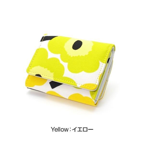 ミニ財布 本革 レザー 財布 手のひら 小さい コンパクト 三つ折り 折りたたみ 小銭入れ カード ギフト 可愛い かわいい 旅行用 マリメッコの生地使用|selene|18