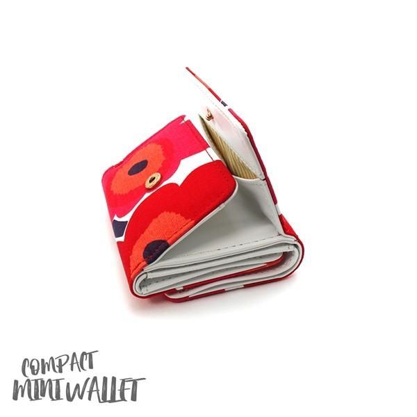 ミニ財布 本革 レザー 財布 手のひら 小さい コンパクト 三つ折り 折りたたみ 小銭入れ カード ギフト 可愛い かわいい 旅行用 マリメッコの生地使用|selene|08