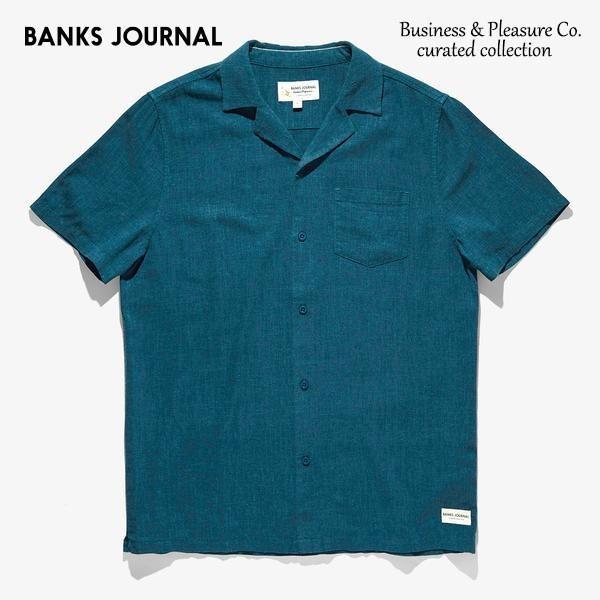 BANKS,バンクス/19SP/半袖シャツ/Business & Pleasure Co Linen Woven SHIRT・WSS0088/SLATE/メンズ/コットンシャツ/無地/開襟シャツ/サーフ selfishsurf