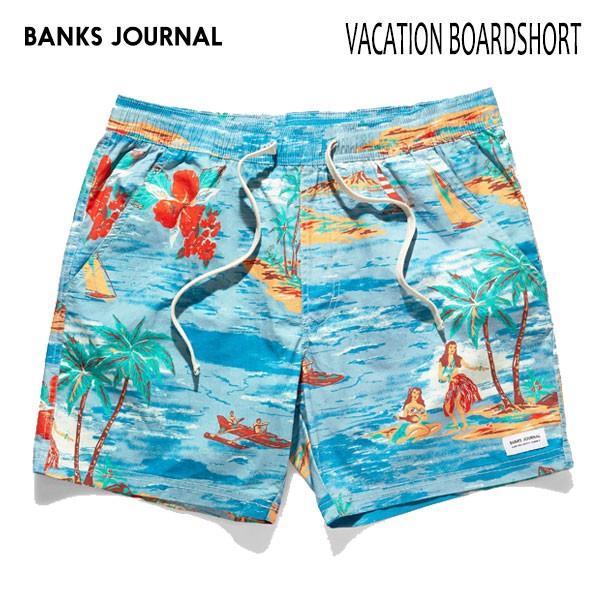 BANKS,バンクス/19SP/ボードショーツ・サーフトランクス/VACATION BOARDSHORT・BS0178/GLACIER BLUE・ブルー/28・30・32インチ/メンズ/総柄/ハワイアン/|selfishsurf