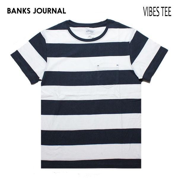 BANKS,バンクス/19SU/ S/S Tシャツ・半袖ポケットTシャツ/VIBES TEE SHIRT・ATS0364/DIRTY DENIM・ネイビー/メンズ/オーガニックコットン/ボーダー/マリン|selfishsurf