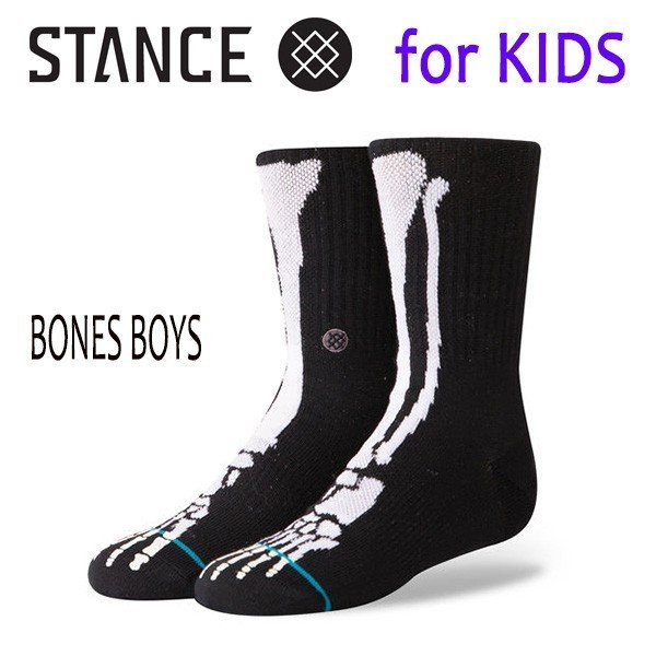 STANCE・スタンス/子供用靴下・キッズソックス/18HO/THE CLASSIC LIGHT・BONES BOYS/BLK・ブラック/Y-M(16.5-19.5cm)・Y-L(19.5-23cm)/発光|selfishsurf