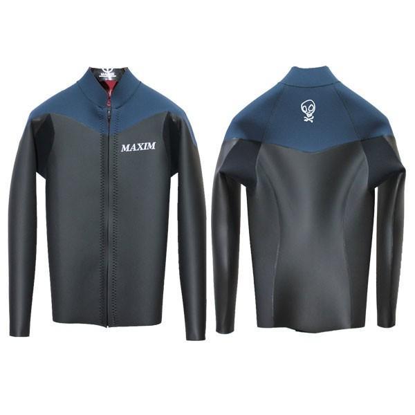 MAXIM CRAFTSUITS/19年プロショップ限定モデル/ウェットスーツ/男性用/ロングスリーブジャケット/フロントジップ/ブラックスキン/スレート/ラバー/クラシック|selfishsurf|02