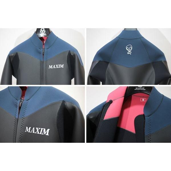 MAXIM CRAFTSUITS/19年プロショップ限定モデル/ウェットスーツ/男性用/ロングスリーブジャケット/フロントジップ/ブラックスキン/スレート/ラバー/クラシック|selfishsurf|03