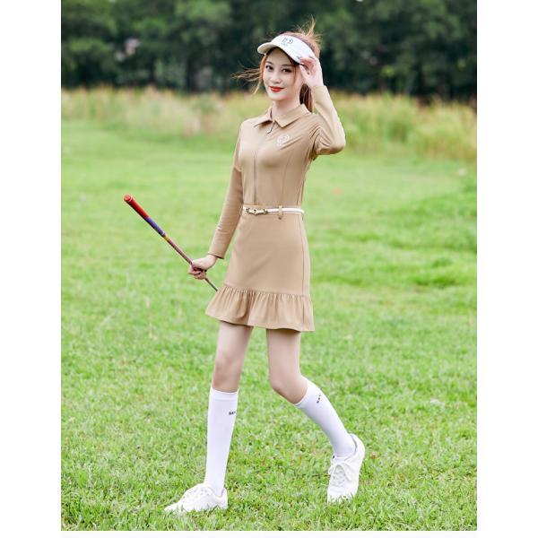 2021 ゴルフウェア レディース ゴルフ ドレス ワンピース 丈長め 春 夏 秋 ゴルフ スカート かわいい おしゃれ 新作