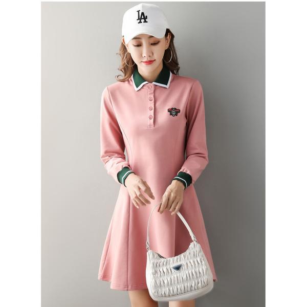 2021 ゴルフウェア レディース 長袖 ゴルフ ドレス ワンピース 丈長め ゴルフ スカート かわいい おしゃれ 新作