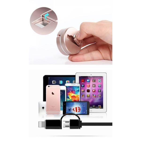 iPhone 充電 ケーブル USBケーブル 2in1 Android microUSB 1m 全8色 巻き取り式 ケース付 フラットケーブル カバー y4|senastyle|04