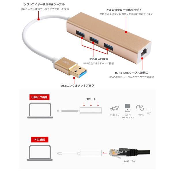USBハブ 3ポート LANアダプター ウルトラハイスピード USB3.0対応 RJ45 有線LAN接続 LANイーサネット小型 バスパワー 3HUB y1|senastyle|03