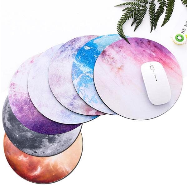 マウスパッドおしゃれ北欧かわいい月地球惑星プラネット天体観測宇宙丸型レーザー&光学式マウス対応ズレにくい柔らかいゴムアートy1