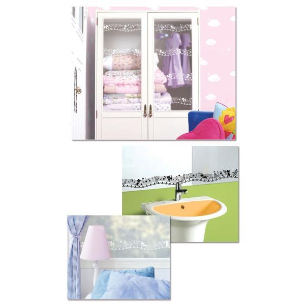 窓ガラス フィルム 目隠し シート マスキングテープ 幅広 猫と音符 壁紙 壁紙 ウォールステッカー 4m単位 y4|senastyle|03