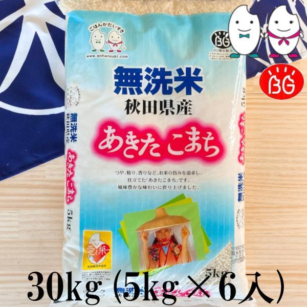お米 BG無洗米 30kg(5kg×6) 秋田県産あきたこまち 令和2年産