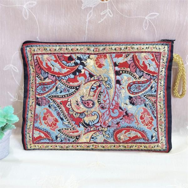 トルコ雑貨絨毯柄ポーチ化粧品文房具タブレットバックインバックハンドメイドキラキラ感NO3.03