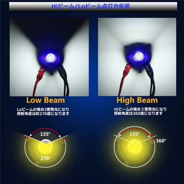 バイクLEDヘッドライト H4 Hi/Lo/BA20D Hi/Lo選択可 12W DC9-85V Bridgelux COBチップ 1200LM 防水 高輝度 ホワイト&ブルーeye 純正交換用 1灯分|sendaizuihouen-store|04