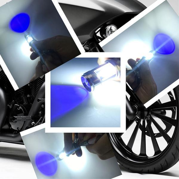 バイクLEDヘッドライト H4 Hi/Lo/BA20D Hi/Lo選択可 12W DC9-85V Bridgelux COBチップ 1200LM 防水 高輝度 ホワイト&ブルーeye 純正交換用 1灯分|sendaizuihouen-store|06