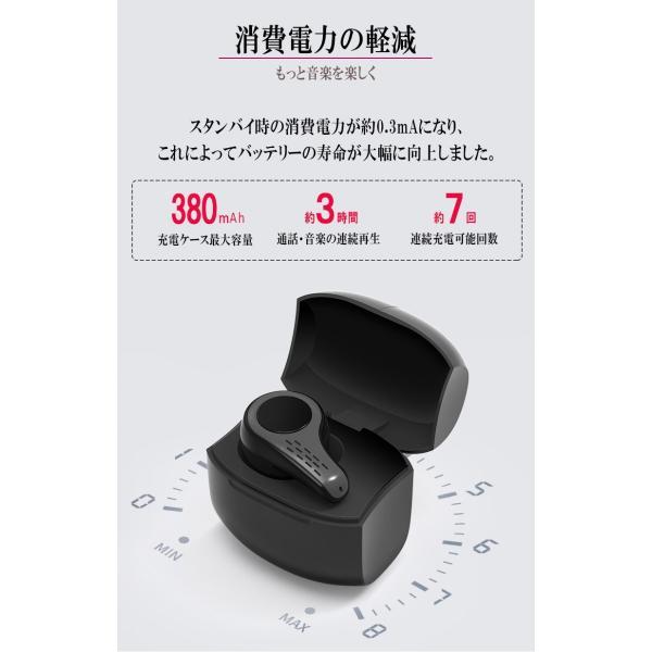 新作ブルートゥースイヤホン Bluetooth 5.0 ワイヤレスイヤホン  ヘッドセット 片耳 Hi-Fi高音質 マイク内蔵 充電ケース付属 最大連続再生時間20時間 左右耳兼用|sendaizuihouen-store|11