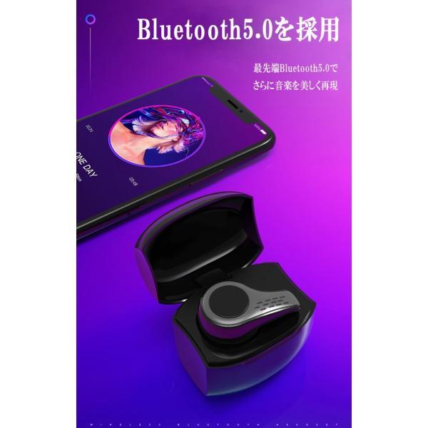 新作ブルートゥースイヤホン Bluetooth 5.0 ワイヤレスイヤホン  ヘッドセット 片耳 Hi-Fi高音質 マイク内蔵 充電ケース付属 最大連続再生時間20時間 左右耳兼用|sendaizuihouen-store|05