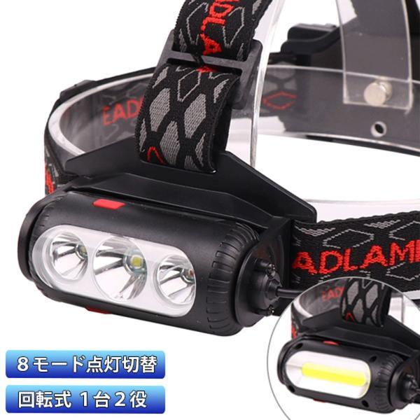 最新LED ヘッドライト 充電式 電池付属 ヘッドランプ 軽量 両面回転式 8000ルーメン 8モード点灯 角度調節可 アウトドア キャンプ 防災 登山 夜釣り 作業