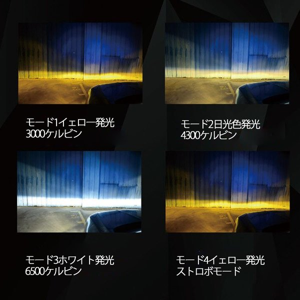 LEDフォグランプヘッドライト H3 H8/H11/H16 HB3 HB4 3色温度切替 記憶機能付きPhilips LUMLEDS社製チップ 66W 6600Lm 3000k/4300k/6500k 2本セットクリスマス|sendaizuihouen-store|05