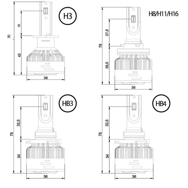 LEDフォグランプヘッドライト H3 H8/H11/H16 HB3 HB4 3色温度切替 記憶機能付きPhilips LUMLEDS社製チップ 66W 6600Lm 3000k/4300k/6500k 2本セットクリスマス|sendaizuihouen-store|09