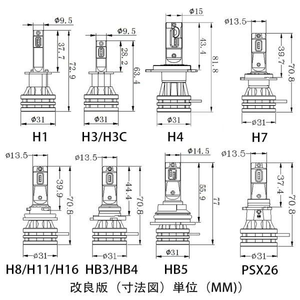 T8LEDヘッドライト H4 H1 H3 H7 H8/H11 HB3 HB4 HB5 HIR2 PSX26W 新車検対応 LUMILEDS製ZESチップ(II) 60W 12000LM ホワイト イェロー選択可 DC12/24V 2本set|sendaizuihouen-store|08