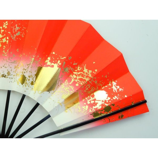 舞扇子 日本舞踊・踊り用 29cm 色紙ちらし 赤 日本製(京都) 箱なし senjyu 05