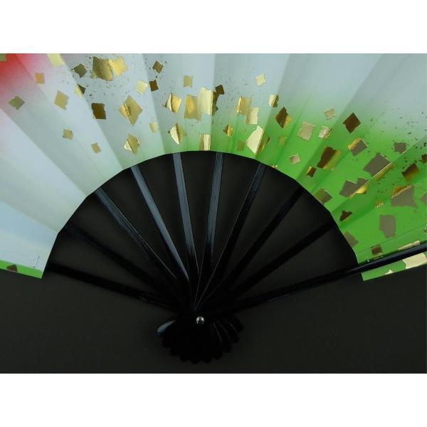 舞扇子 日本舞踊・踊り用 29cm 金箔・朱・若草 日本製(京都) 箱なし|senjyu|03