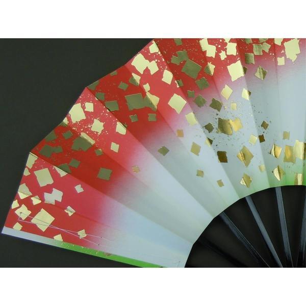 舞扇子 日本舞踊・踊り用 29cm 金箔・朱・若草 日本製(京都) 箱なし|senjyu|04
