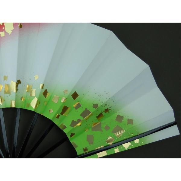 舞扇子 日本舞踊・踊り用 29cm 金箔・朱・若草 日本製(京都) 箱なし|senjyu|05