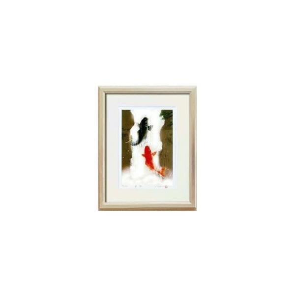 14821 吉岡浩太郎「開運」風水額(大衣) 「夫婦滝昇り鯉」 銀|senssyo