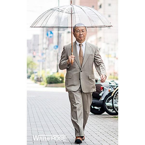ホワイトローズ雨傘 かてーる16桜OL オリーブ 天然木製ハンドル ビニール傘 長傘16本骨傘 男女兼用 日本製 杉綾織袋セット|senssyo|09