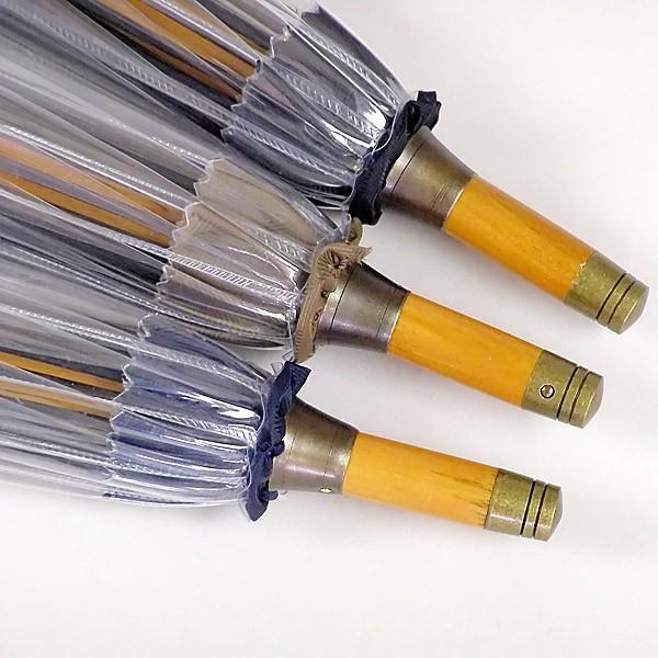 ホワイトローズ雨傘 かてーる16桜NV ネイビー 天然木製ハンドル ビニール傘 長傘16本骨傘 男女兼用 日本製 杉綾織袋セット|senssyo|08