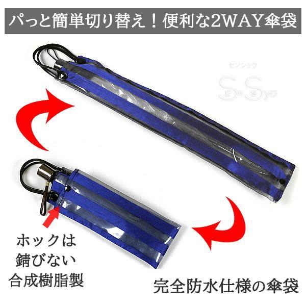 ホワイトローズ雨傘 アメマチ58NV 携帯 折りたたみビニール傘 透明ネイビー 木製手元 グラスファイバー8本骨傘 男女兼用 日本製 2WAY防水傘袋セット|senssyo|06
