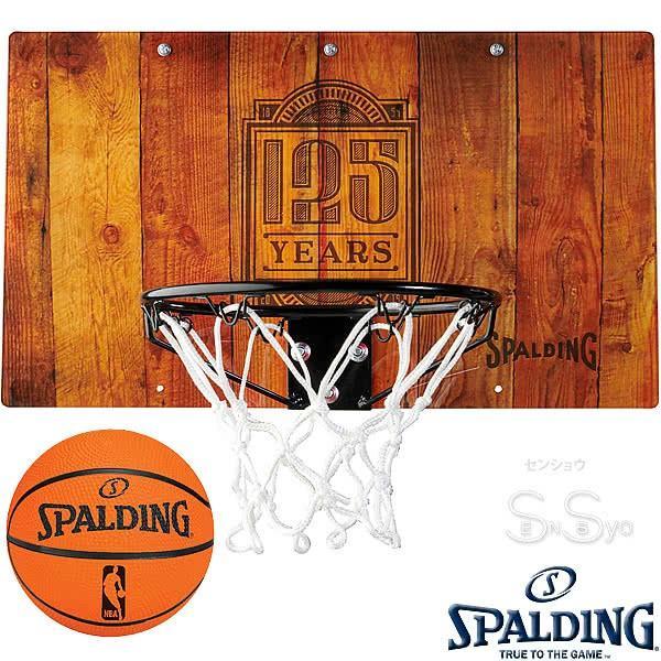 SPALDING ドア用バスケットゴール 125周年スラムジャム バックボード インテリア 木目調 バスケットボール ポリカーボネイト 室内 設置 スポルディング56109CN|senssyo
