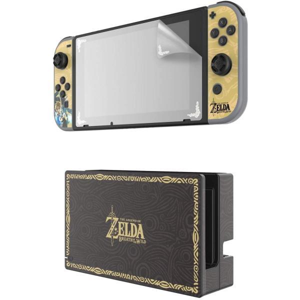 任天堂ライセンス商品 PDP Nintendo Switch スイッチ スキンシール&スクリーンプロテクター&アナログコントローラーキャップセット ゼルダ serekuto-takagise