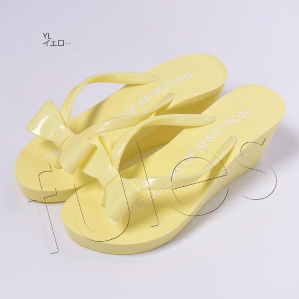 ビ−チサンダル レディース 履きやすい 厚底 ヒール サンダル かわいい オシャレ シンプル ロゴ 水着 プール 海 BENETTON ベネトン