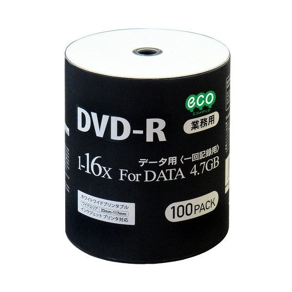 【6個セット】MAG-LAB DR47JNP100_BULK データ用DVD-R ワイド白プリンタブル 100枚ロールラップ x6個