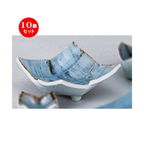 10個セット和陶オープン タタラゴス巻 三ツ足刺身鉢 [ 15.5 x 15.5 x 7cm ] 【 料亭 旅館 和食器 飲食店 業務用 】
