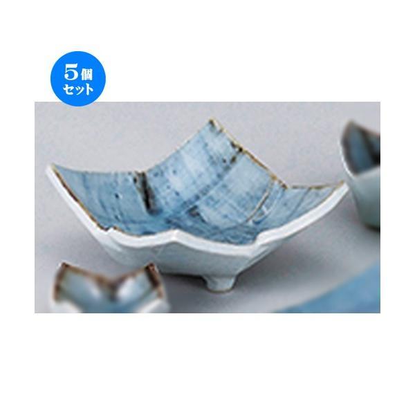 5個セット和陶オープン タタラゴス巻 三ツ足刺身鉢 [ 15.5 x 15.5 x 7cm ] 【 料亭 旅館 和食器 飲食店 業務用 】