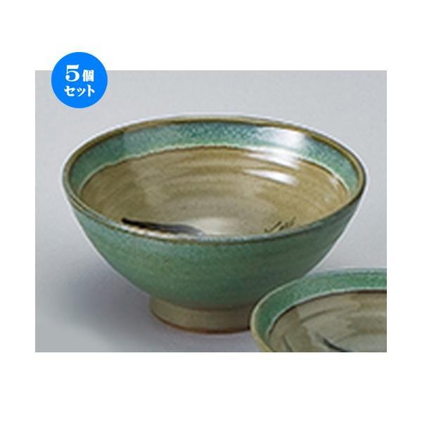 5個セット和陶オープン 青益子中山水 のり茶碗 [ 15.5 x 7.5cm ] 【 料亭 旅館 和食器 飲食店 業務用 】