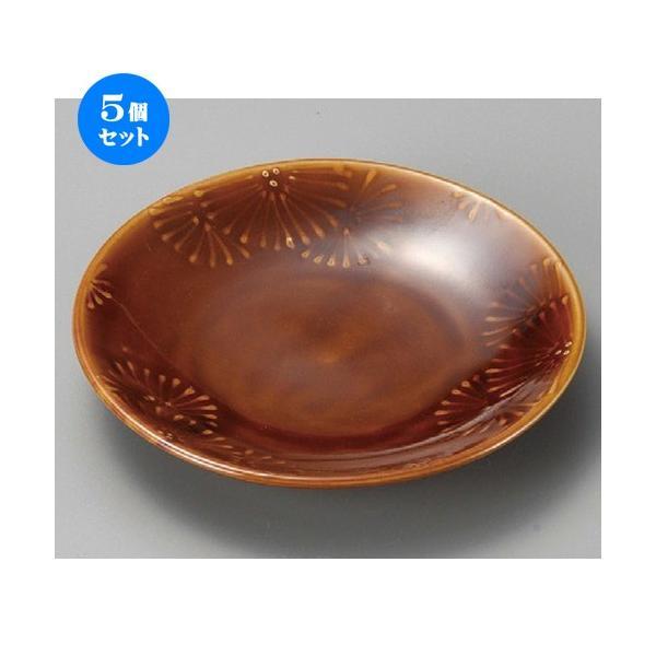 5個セット ☆ 組皿 ☆ 糸菊アメ釉4.0皿 [ 135 x 23mm ] 【料亭 旅館 和食器 飲食店 業務用 】