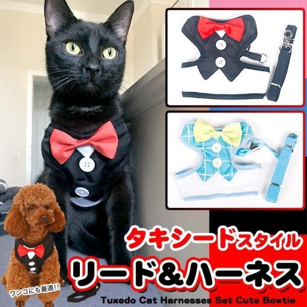犬 猫 ハーネス リード ペット 服  ウェアハーネス 胴輪 キャット ドッグ リーシュ リボン タキシード|sevenbridge