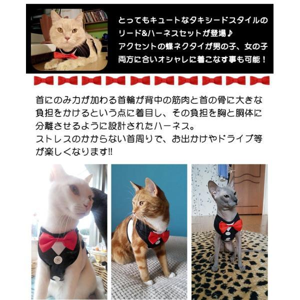 犬 猫 ハーネス リード ペット 服  ウェアハーネス 胴輪 キャット ドッグ リーシュ リボン タキシード|sevenbridge|02
