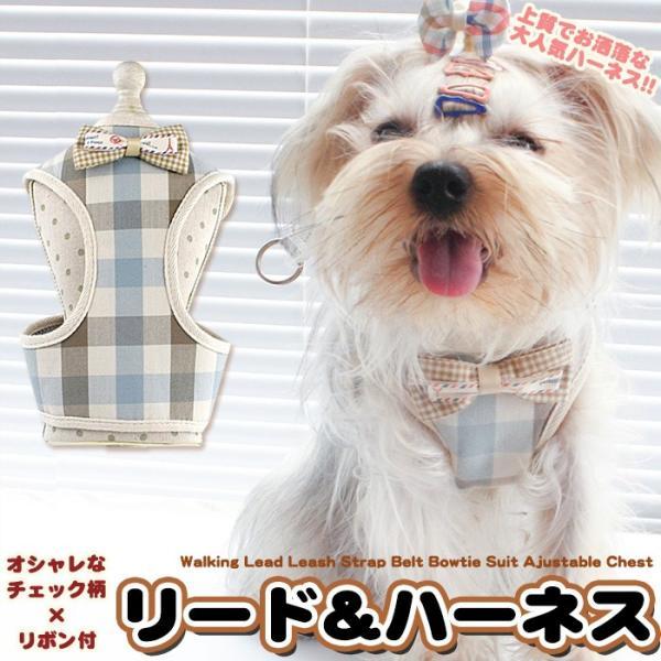 犬 猫 ハーネス リード付 ペット 服 リボン チェック  胴輪 キャット ドッグ メッシュ|sevenbridge
