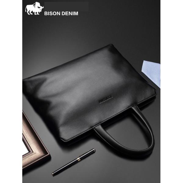 パソコンバッグ 牛革 ビジネスメンズバッグ レザーBISONDENIM 牛革バッグ メンズ 本革 レザー ブラック A4収納可能  送料無料
